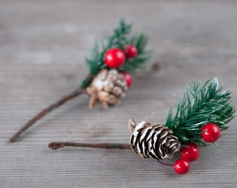 Christmas Pinecone Decorations Woodland Seasonal Wreath Components Pinecone on Conifer Needle branch with red berries Christmas Table Decor