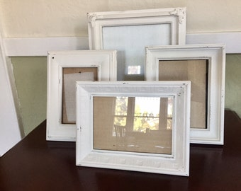 shabby chic ornate picture frames, soft white, distressed set of 4, 8x10, 5x7, 3.5x5