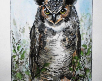 "This is a print of my original watercolor painting titled ""Great Horned Owl"" Available in 5x7,8x10,11x14,16x20 wrapped canvas and notecards"