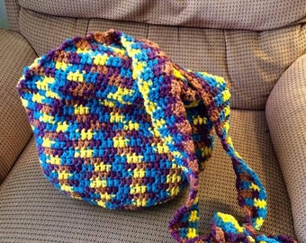 Large HOBO/ Market Bag, Blue, Yellow, Browns