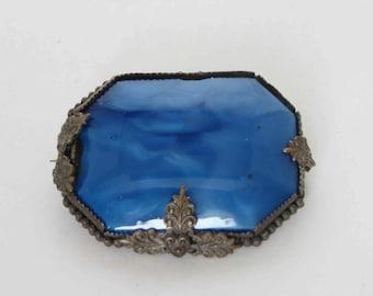 Very Old Octagonal Blue Glass Brooch