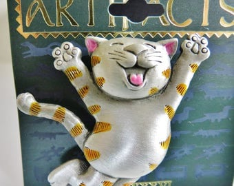 "HTF JJ Jonette Happy Kitty ""Tuna For Dinner"" Brooch Pin"