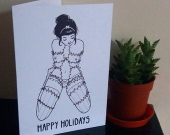 Happy Holidays Adult Xmas Shibari Card A5 - Woman
