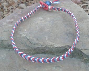 Hemp Necklace Red White Blue Hemp Necklace macrame necklace summer surfer beach jewelry hippie chic hemp jewelry Guys hemp necklace Men Man