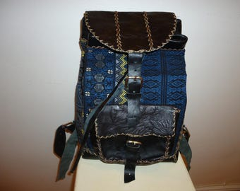 A Beautiful Must See!! Tapestry and Leather Knapsack