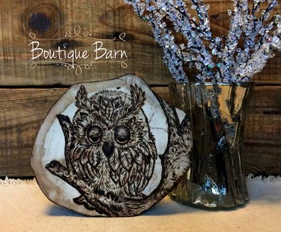 Owl/Primitive Owl Decor/Owl Artwork/Fireplace Mantle