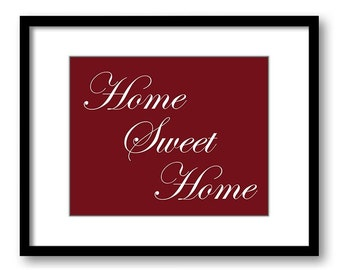 Home Sweet Home Wall Decor Print Red Burgundy Wall Art Print White Home Decor Wall Art Modern Minimalist