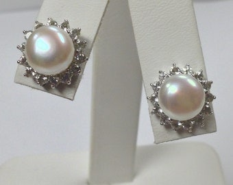 Freshwater Cultured Pearl with White Topaz Stud Earrings 925 Sterling Silver