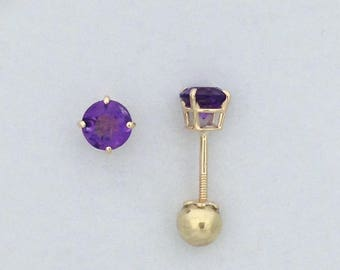 Natural Amethyst Earrings Solid  14kt Yellow Gold Screwback For Baby Children