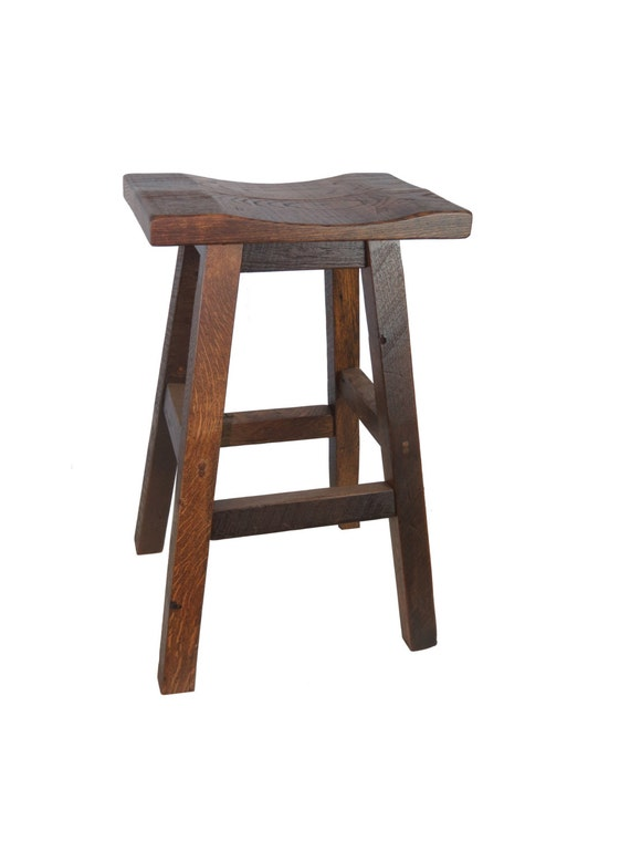 Barnwood Bar Stools Saddle Seat 30