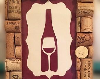 Wine Cork Frame w/ Wine Bottle Art
