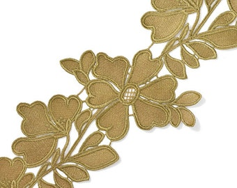 """5"""" GOLD Metallic Thread Flower Lace Trim for Bridal, Costume or Jewelry, Crafts and Sewing by yard, TR-11268"""