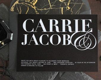 Modern Serif Wedding Invitation // DIY PRINTABLE Black & White Wedding Invitations, Elegant wedding invitation,  Modern wedding invitations.