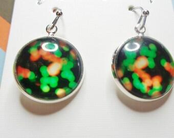 Green/Orange Cabochon Dangle Earrings