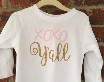 XOXO Y'ALL -- Valentines Day Shirt -- Little Girls