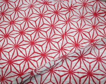 white and red print, block print fabric, vegetable dye, cotton fabric, womens clothing, Indian fabric