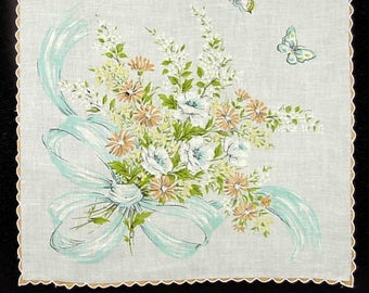 Vintage Floral Bouquet With Bow and Butterflies Handkerchief  (Inventory #M3154)