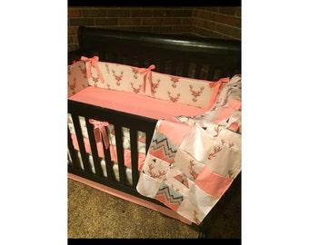 Baby Girl Crib Bedding Teepee Deer Head Coral Tan Navy Mint