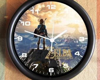 LEGEND of ZELDA Breath of the Wild Big 10 inch black wall clock clock town  Ships Tomorrow