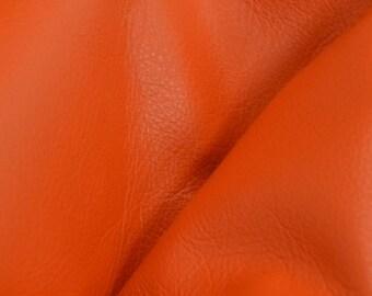 "Classic Orange Crush ""Signature""  Leather Cow Hide 8"" x 10"" Pre-Cut 2-2 1/2 oz flat grain DE-52178 (Sec. 8,Shelf 3,C)"
