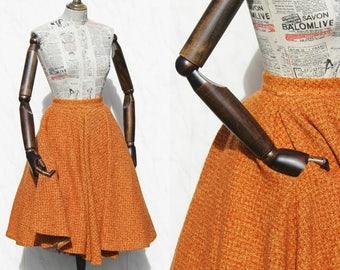 SALE 50s Skirt • Orange Wool Skirt • Vintage Full Skirt • High Waisted Skirt • 1950s Day Skirt • Circle Skirt With Pockets • Womens Skirt.XS