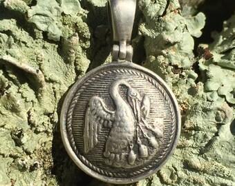 Sterling Silver Confederate LOUISIANA State Seal Button Civil War Relic Pendant