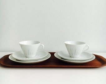 """Vintage Arabia Finland fine pocelain coffee cup, saucer and desert plate named """"stella"""" by Raija Uosikkinen, 1950s, Made in Finland"""