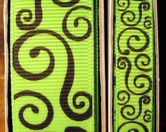 "2 Yards 3/8"" or 7/8"" US Designer New Apple - Lime Green w/Black Scroll - Swirl Print Grosgrain Ribbon"