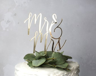 wedding cake topper - mr and mrs cake topper - cake decoration - wedding calligraphy - cake topper for wedding - gold wedding decor