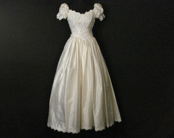 Jim Hjelm Wedding Dress Train Bustle French White Ivory Silk Bridal Gown XS