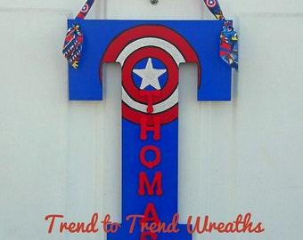 Captain America Gift, Wooden Superhero Letter, Captian America, Superhero Wall Decor, Birthday Gift, Kid Room Decor, Superhero Door Hanger