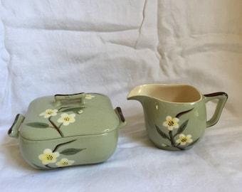 Mid century Weil Ware Blossom Sugar & Creamer set weil ware California pottery