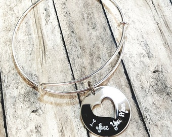 I Love You Mom Charm Bracelet - Engraved adjustable bracelet with engraving heart - tarnish resistant silver tone - Gift for mom