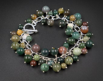 Indian agate charm bracelet Indian agate silver handmade semiprecious stone charm bracelet earth tone natural stone agate jewelry