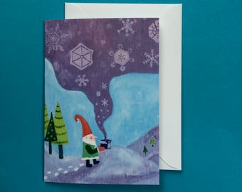 Christmas Card, Holiday Card, Xmas Card, Gnome Painting, Gnome Snow Card, Nostalgic Christmas, Vintage Style, Let it Snow Card, Laura Lynne