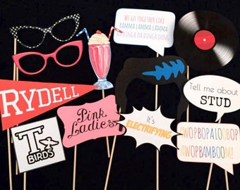 Grease Themed Party Photo Booth Props