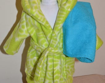 American Doll ** Neon Green/White BATH ROBE & Teal TOWEL ** Free Shipping!! -- doll clothes - doll accessories - 18 inch doll -