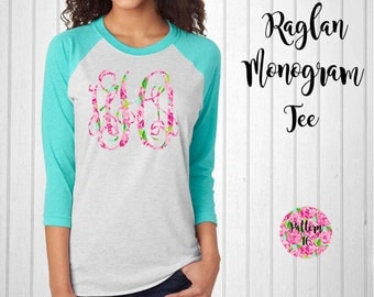 Monogram Shirt, Monogram Raglan Tee // Monogram T-Shirt in Pattern 16