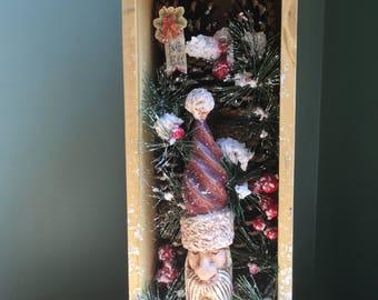 Christmas display shadow box, christmas display, shabby chic, rustic, Santa, shadow box, display box