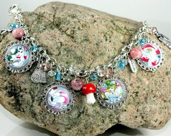Bracelet.  Alice in Wonderland Jewelry.  Beaded Charm Bracelet.  OOAK.  Picture Charms.  Unique gifts for Sisters.  Fantasy Art.  Book Lover