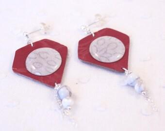 Boucles d'oreille cuir rouge – Bijoux d'Inde