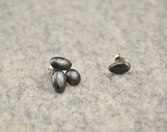 Asymmetrical earrings/Oxidized sterling silver earrings/silver oxidized / gift to her / single piece