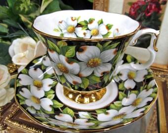 Royal Albert tea cup and saucer DOGWOOD  chintz  PROVENICAL series  teacup