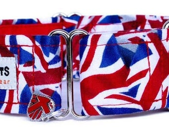 "Noddy & Sweets Adjustable Martingale Collar [1"", 1.5"", 2"" Union Jack]"