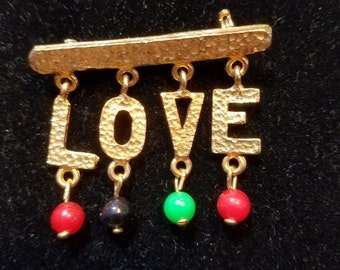FREE  SHIPPING   Hippie Love Peace Brooch
