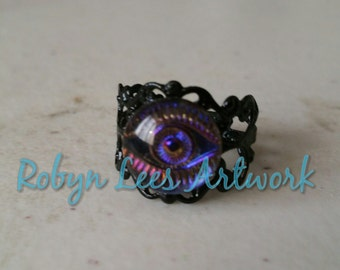 Purple Yellow Pink Orange Eye Cabochon Adjustable Black Filigree Ring. Cute, Different, Costume