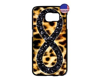 Leopard Tiger print Black Infinity  Hard Rubber TPU Case Cover For Samsung Galaxy S8 S7 S6 Edge Plus S5 S4 S3 NOTE 5 4 3 2 iPod Touch 4 5 6