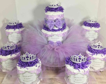 Princess Tutu Diaper Cake Centerpiece Set for Baby Shower, Girl Diaper Cake, Purple Baby Tutu, Welcome Little Lady