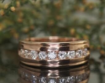 Gentleman's Diamond Wedding Band in Rose Gold, 5mm Wide, High Polish Finish with Channel Set Diamonds, Al