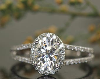 Oval Halo Engagement Ring with Split Shank, 1.50ct Oval Forever One Moissanite, Diamond Split Shank Band and Halo, Bridal, Audrina